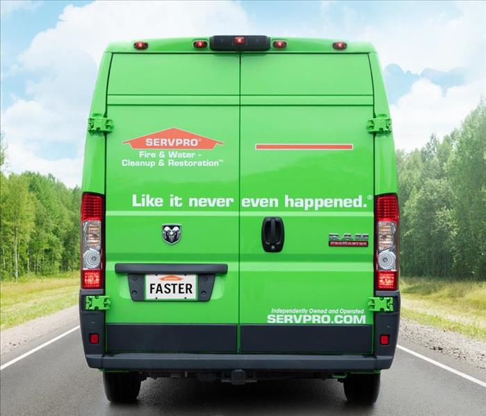 The back of a SERVPRO green van