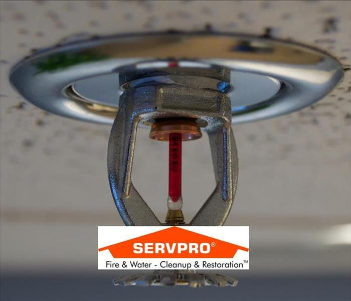 A closeup picture of a sprinkler system attached to the ceiling and the SERVPRO logo