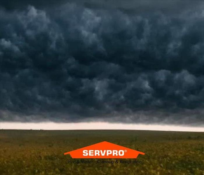 An open green field with dark blue and grey clouds filling the sky and the SERVPRO logo at the bottom center