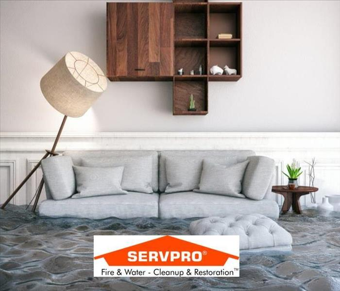 a living room with a couch and lamp and water flooding the floor and the SERVPRO logo at the bottom