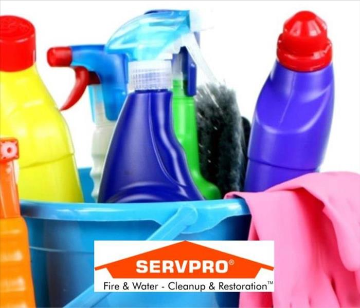 A bunch of no name cleaning products in a bunch of different colors and the SERVPRO logo at the bottom